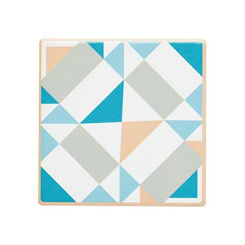 KitchenCraft Moroccan Inspired Green Geo Cork Back Ceramic Coaster