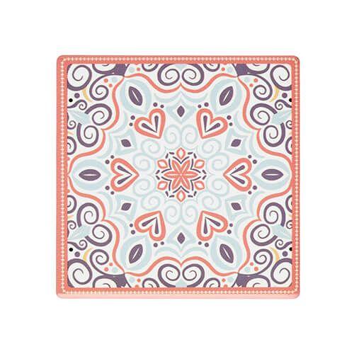 KitchenCraft Moroccan Inspired Terracotta Motif Cork Back Ceramic Coaster