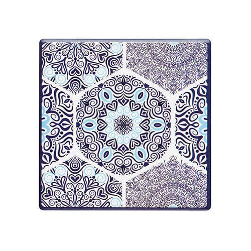 KitchenCraft Moroccan Inspired Blue Mandala Cork Back Ceramic Coaster