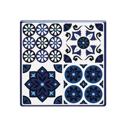 KitchenCraft Moroccan Inspired Blue Tile Cork Back Ceramic Coaster
