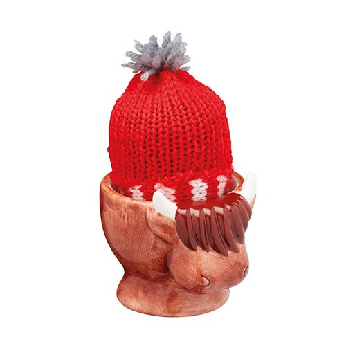 KitchenCraft Highland Cow Egg Cup and Egg Cosy