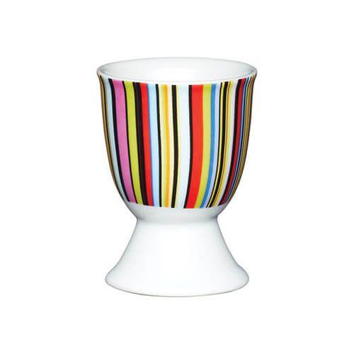 KitchenCraft Bright Stripe Porcelain Egg Cup