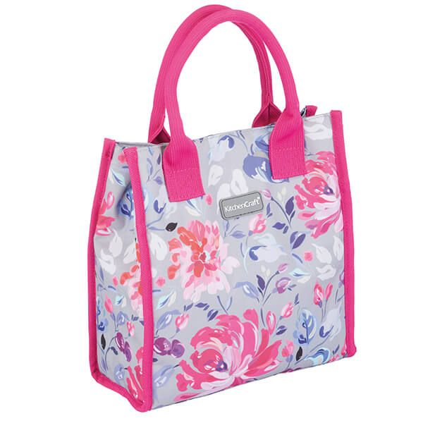 KitchenCraft 4L Grey Floral Lunch And Snack Cool Bag