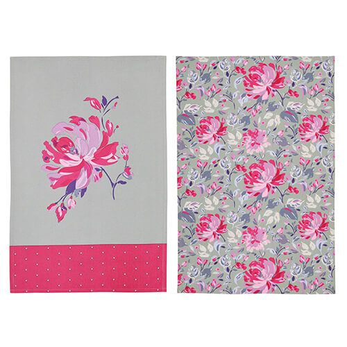 KitchenCraft Grey Floral Tea Towels 2 Piece Set