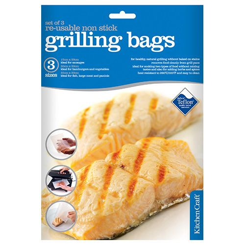 KitchenCraft Grill Bags, Non-Stick, Reusable, Set of 3