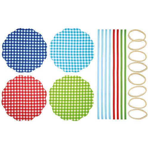 Home Made Pack of Eight Gingham Patterned Fabric Jam Cover Kits
