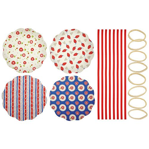 Home Made Pack of Eight Heart Patterned Fabric Jam Cover Kits