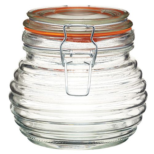 Home Made Traditional Glass Beehive Honey Pot