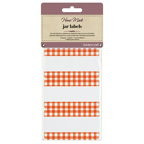 Home Made Pack of Thirty Self Adhesive Jam Jar Labels - Gingham