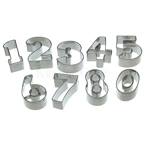 Lets Make Stainless Steel Numeral Cookie Cutter Set of 9 with Tin