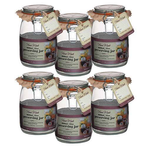 Home Made Glass 1000ml Preserving Jar Set Of 6