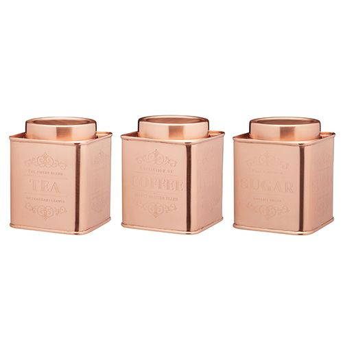 3pc Kitchen Storage Set Tea Coffee Sugar Jar Caddy Canister Tin Container Copper