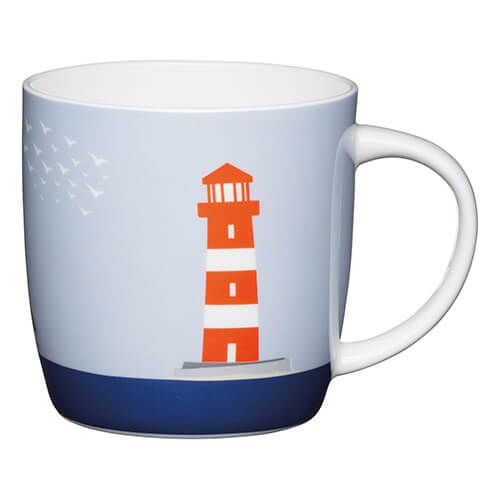 KitchenCraft China 425ml Barrel Shaped Mug, Lighthouse