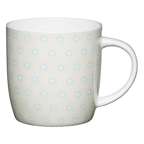 KitchenCraft China 425ml Barrel Shaped Mug, Daisy
