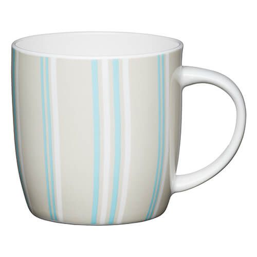 KitchenCraft China 425ml Barrel Shaped Mug, Blue Stripe