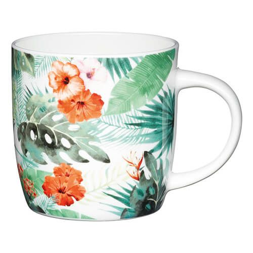 KitchenCraft China 425ml Barrel Shaped Mug, Palm Leaf