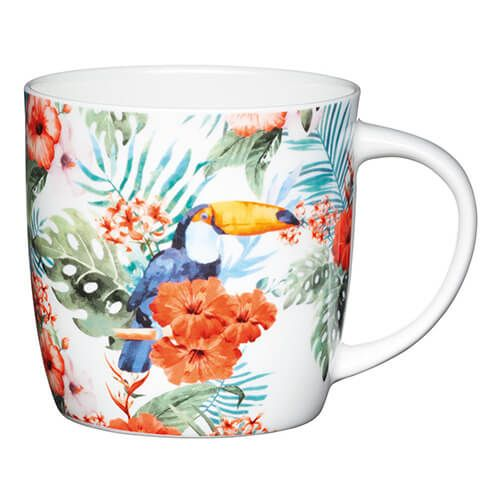 KitchenCraft China 425ml Barrel Shaped Mug, Toucan