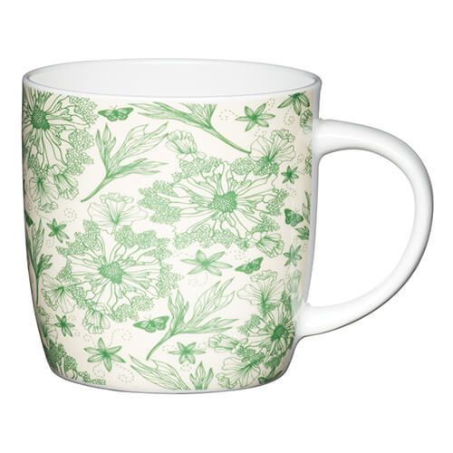 KitchenCraft China 425ml Barrel Shaped Mug, Botanical Leaf