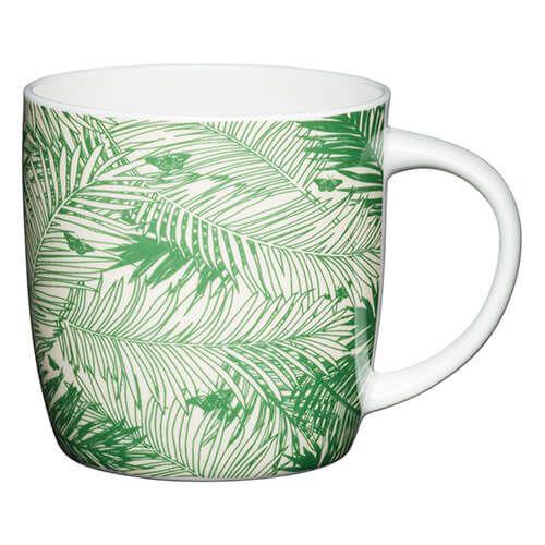 KitchenCraft China 425ml Barrel Shaped Mug, Palms