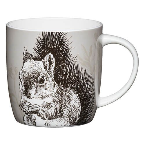 KitchenCraft China 425ml Barrel Shaped Mug, Squirrel