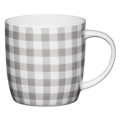 KitchenCraft China 425ml Barrel Shaped Mug, Grey Gingham