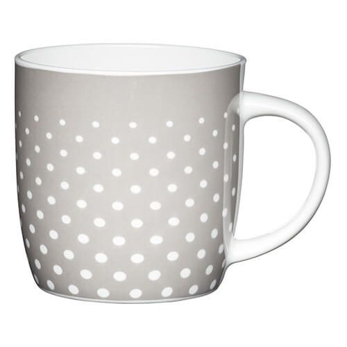 KitchenCraft China 425ml Barrel Shaped Mug, Grey Polka
