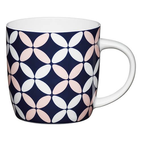 KitchenCraft China 425ml Barrel Shaped Mug, Petals