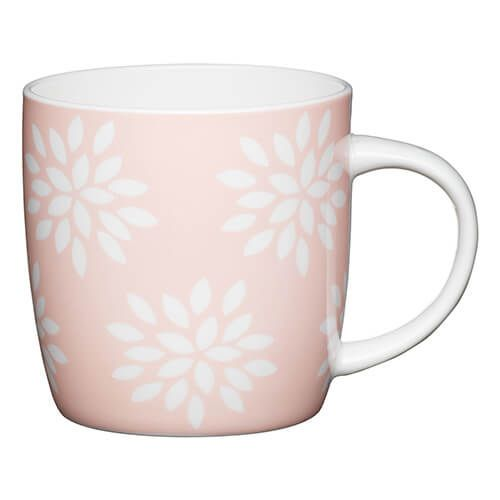 KitchenCraft China 425ml Barrel Shaped Mug, Pink Petals