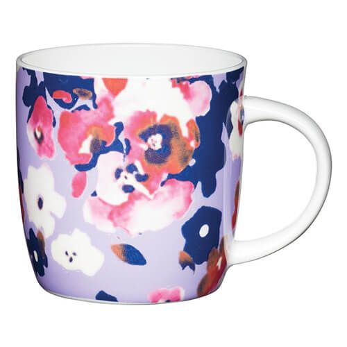 KitchenCraft China 425ml Barrel Shaped Mug, Painted Flower
