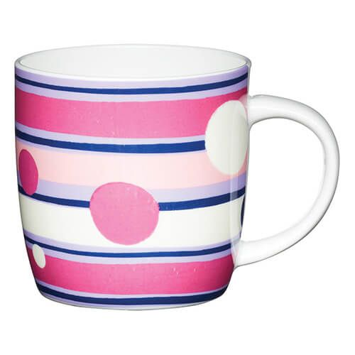 KitchenCraft China 425ml Barrel Shaped Mug, Polka Stripe