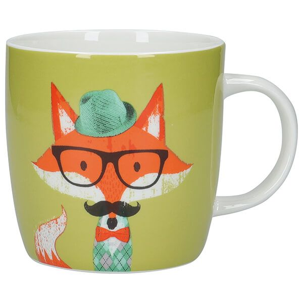 KitchenCraft China 425ml Barrel Shaped Mug, Fox Specs