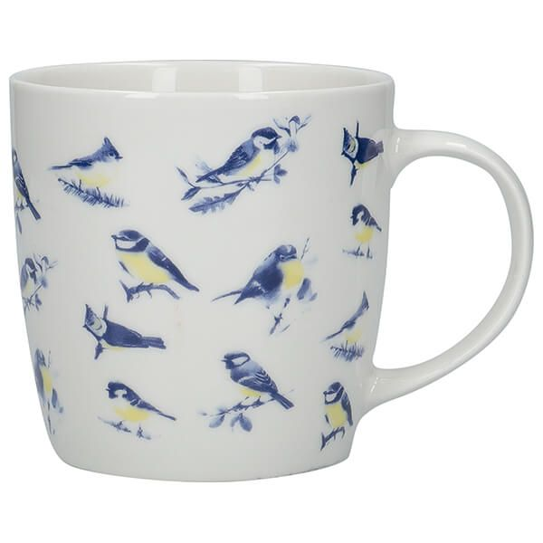 KitchenCraft China 425ml Barrel Shaped Mug, British Birds