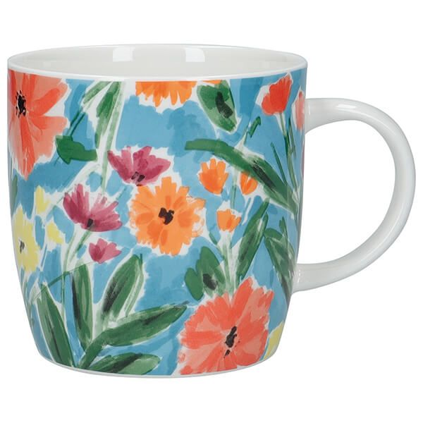 KitchenCraft China 425ml Barrel Shaped Mug, Abstract Flowers