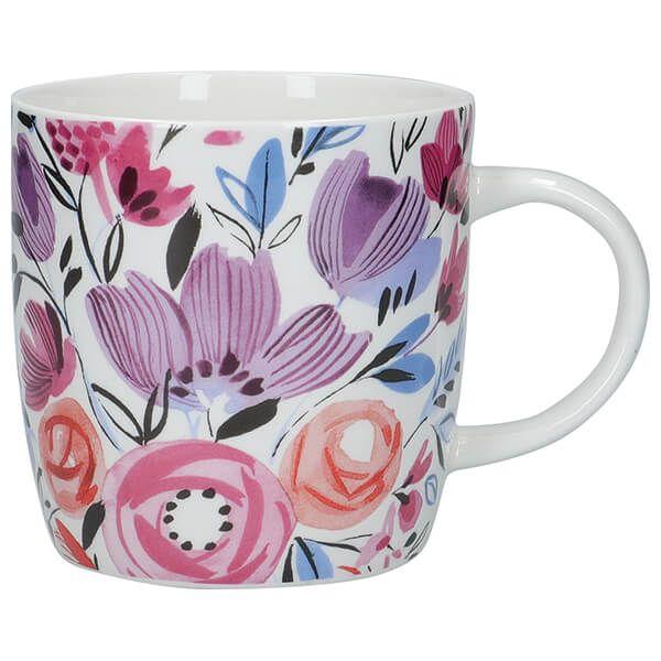 KitchenCraft China 425ml Barrel Shaped Mug, Modern Rose