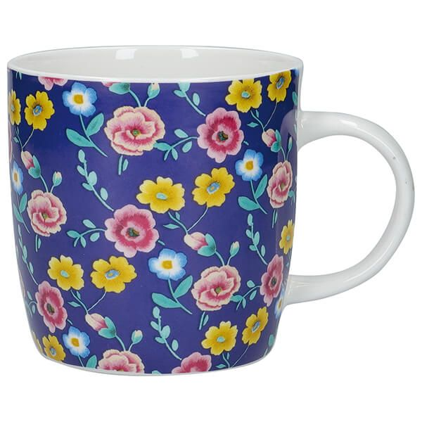 KitchenCraft China 425ml Barrel Shaped Mug, Navy Floral
