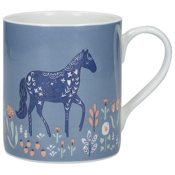KitchenCraft Fine Bone China 330ml Can Mug, Woodcut Horse
