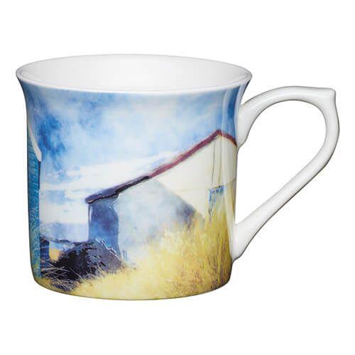 KitchenCraft China 300ml Fluted Mug, Beach Huts