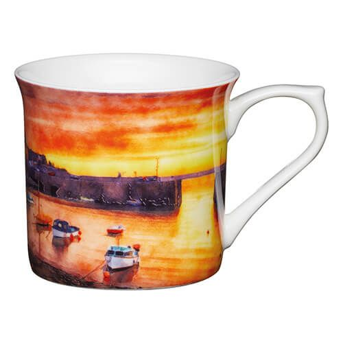 KitchenCraft China 300ml Fluted Mug, Boats