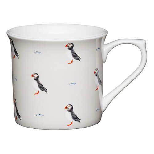 KitchenCraft China 300ml Fluted Mug, Puffin