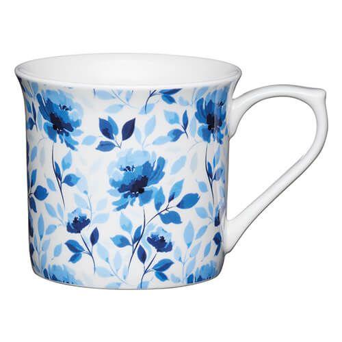 KitchenCraft China 300ml Fluted Mug, Blue Rose