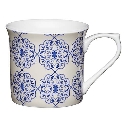 KitchenCraft China 300ml Fluted Mug, Blue Filigree