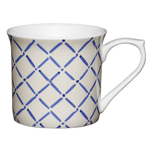 KitchenCraft China 300ml Fluted Mug, Blue Crosshatch