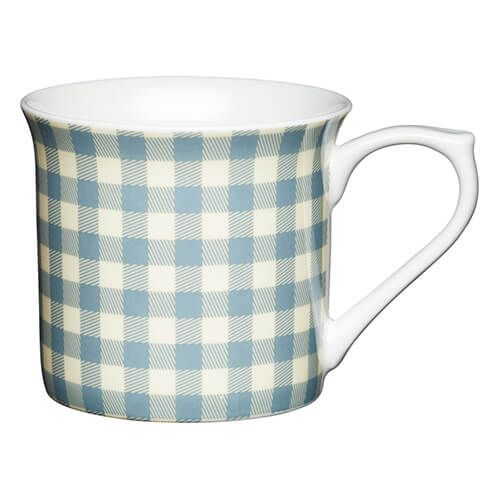 KitchenCraft China 300ml Fluted Mug, Blue Gingham