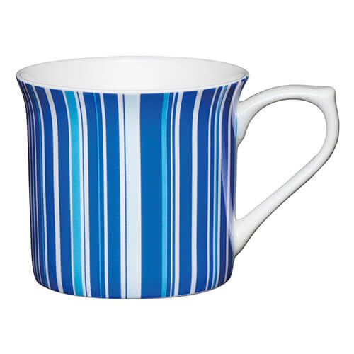 KitchenCraft China 300ml Fluted Mug, Blue Stripe