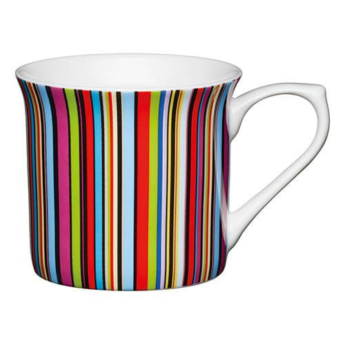 KitchenCraft China 300ml Fluted Mug, Multi Stripe