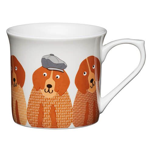 KitchenCraft China 300ml Fluted Mug, Dogs