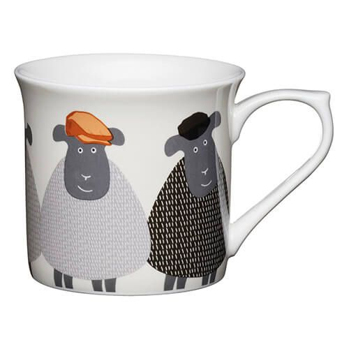 KitchenCraft Fine Bone China 300ml Fluted Mug, Sheep