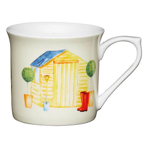 KitchenCraft China 300ml Fluted Mug, Garden Shed