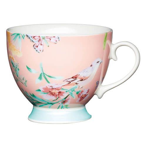 KitchenCraft China 400ml Footed Mug, Peach Birds