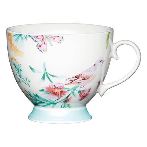 KitchenCraft China 400ml Footed Mug, White Birds